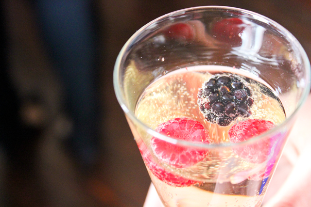 """Christian Confidential"" cocktail - Collavini Prosecco, White Cranberry + Mixed Berries"